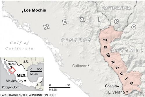 Khu vực vùng núi Tamazula, nơi Guzman ẩn náu trước khi bị bắt ở Los Mochis hôm 8/1. Đồ họa: Washington Post