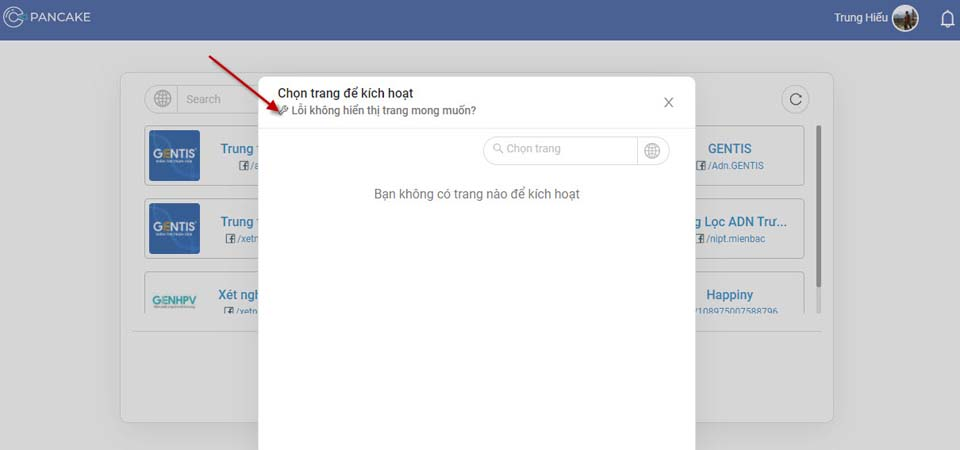 Kết nối với Facebook Pages