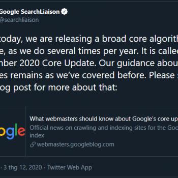 Google cập nhật thuật toán cốt lõi vào 03/12/2020