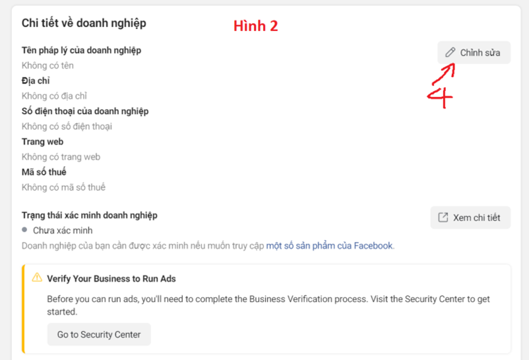 xác minh doanh nghiệp facebook business