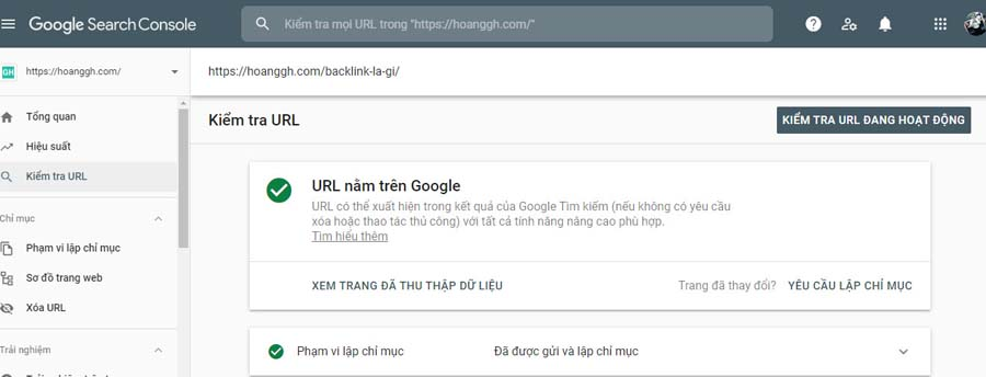 Submit URL trong Google Search Console